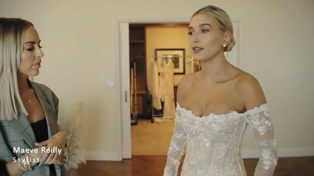 Hailey Baldwin sexy - Wedding Dress Fitting (2019)